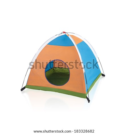 small tent toy for kid isolated on white background - stock photo