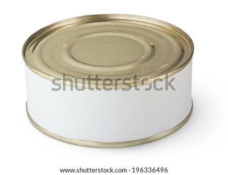 Small tin can with blank label isolated on white - stock photo