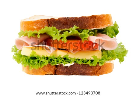 Small toast sandwich isolated on white