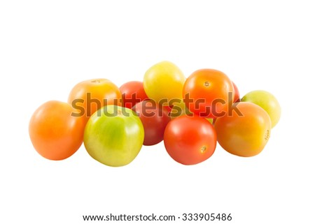 Small tomatoes on white backgroud. - stock photo