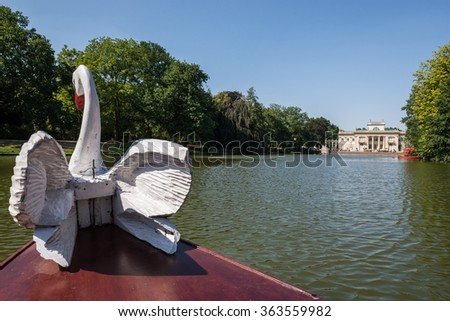 small tourist boat in Lazienki Royal Baths Park in Warsaw, Poland - stock photo