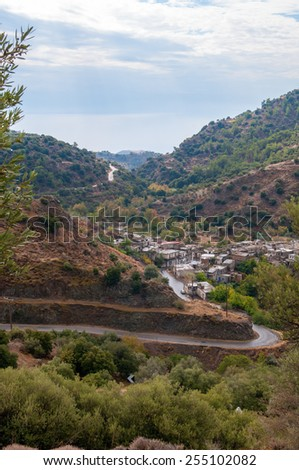 Small town, Lasithi Plateau on the south east of Crete Island, Greece - stock photo