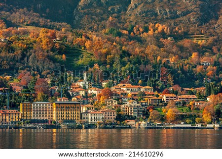 Small town on the shore of Lake Como in autumn in Italy. - stock photo
