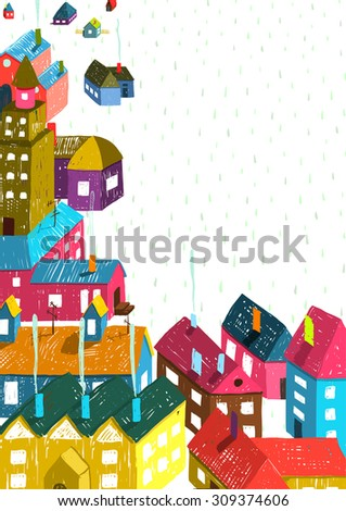 Small Town or City with Houses Roofs Landscape. Colorful hand drawn sketchy pencil drawing feel illustration. Small urban scene composition isolated. Raster variant. - stock photo