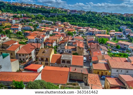 small town seen from above in Sardinia, Italy - stock photo
