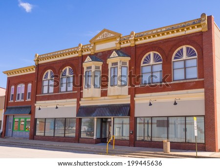 Small town storefront Midwest windows - stock photo