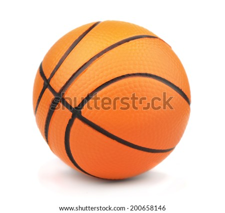 Small toy basketball ball isolated on white