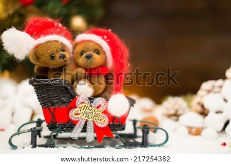 Small toy bears on a sleigh in christmas still life  - stock photo