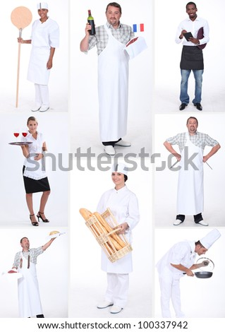 Small traders and restaurant employees - stock photo