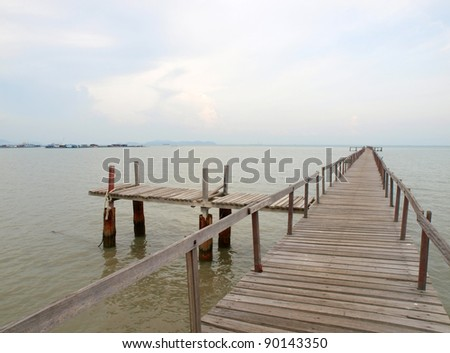 small traditional wooden jetty - stock photo