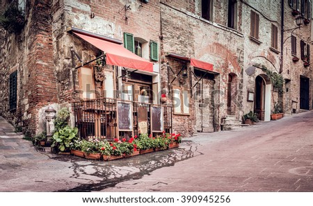 Small trattoria in tuscan Montepulciano town, Italy - stock photo