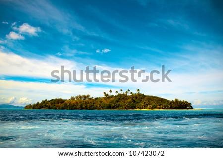 Small tropical island in the Bora - stock photo