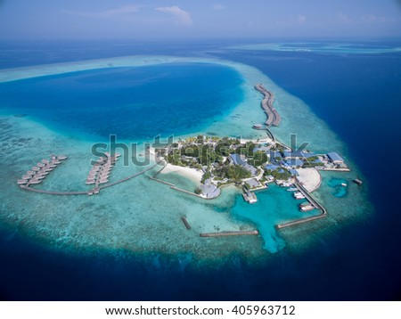 Small tropical island. View from drone. Maldives,Indian ocean - stock photo