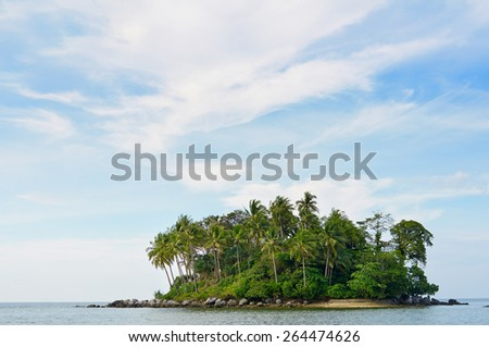 Small tropical remote island covered with palms in the ocean - stock photo