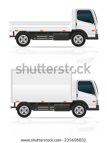 small truck for transportation cargo illustration isolated on white background - stock photo