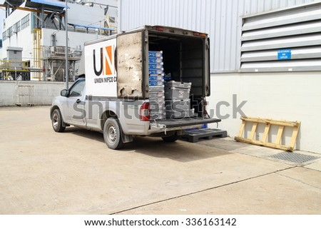 Small truck, THAILAND - November 06 2015: Small truck for material part delivery suppot to factory for assembly ,automotive parts industrial at Rayong industrial Thailand