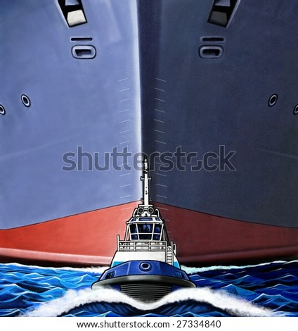 small tugboat pulling a huge ship