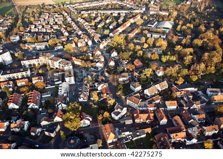 small typical german small city of Bonames in birds view