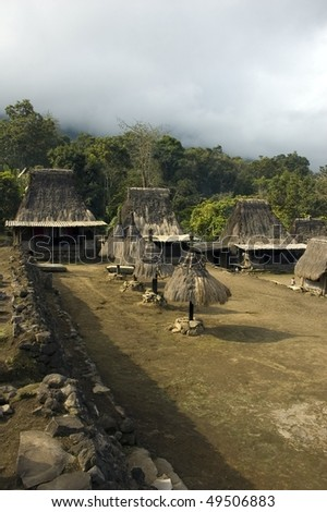 small typical village of flores indonesia - stock photo