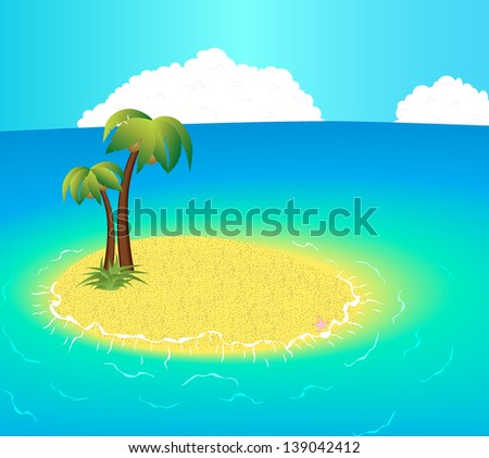 Small uninhabited Island with tropical palms and starfish. raster version, vector file also included - stock photo