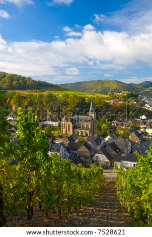 small village and vineyards along the mosel river in germany - stock photo