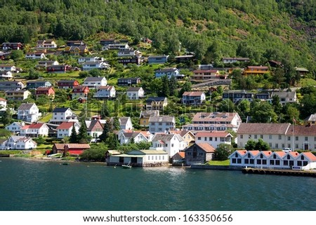 Small village Aurland, Norway - stock photo