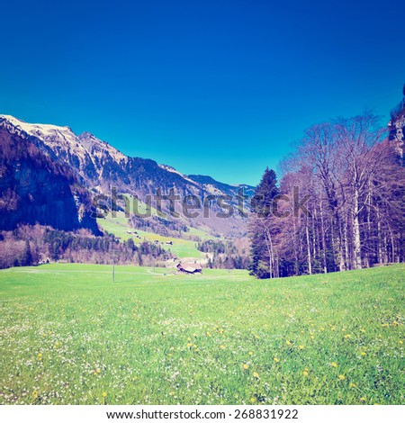 Small Village High Up in the Swiss Alps, Instagram Effect - stock photo