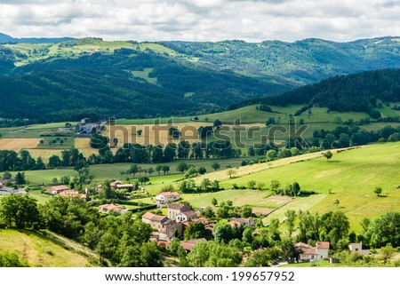 Small village in an agricultural French landscape.