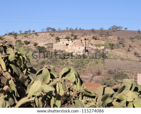 Small village in the Atlas mountain, Morocco - stock photo