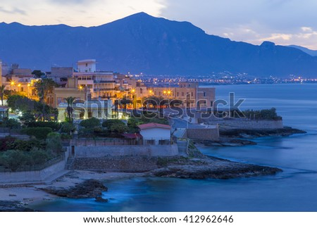 Small village of Aspra seen near Palermo, Sicily, Italy at dusk