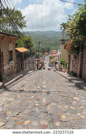 Small village of Copan Ruinas, in Honduras, where the famous Mayan archaeological site of Copan is located. - stock photo