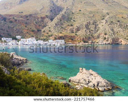 Small village of Loutro, southern Crete,Greece - stock photo