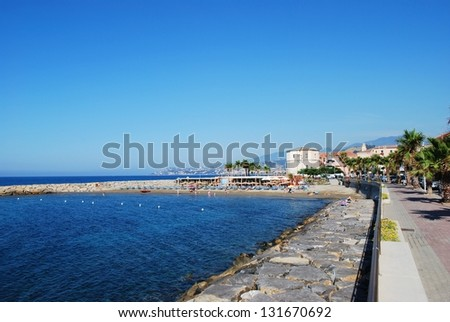 Small village on Mediterranean sea in summer, Santo Stefano al Mare, Liguria, Italy