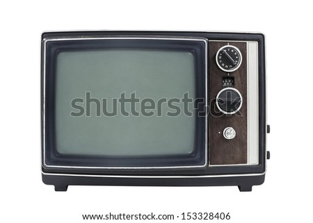 Small vintage portable television isolated with clipping path