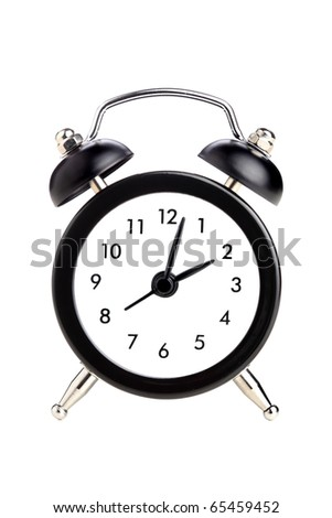 small vintage style elegant clock, against white - stock photo