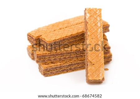 Small wafers on a white background