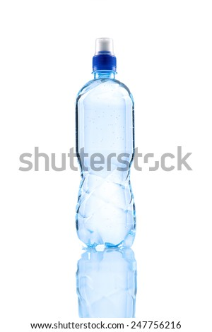 Small water bottle over white background - stock photo