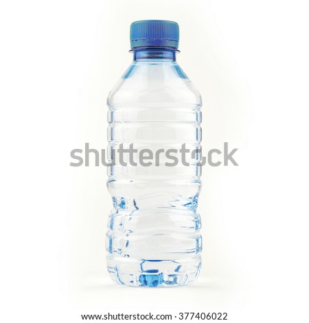 Small water bottle / Plastic bottle of drinking water isolated on white - stock photo