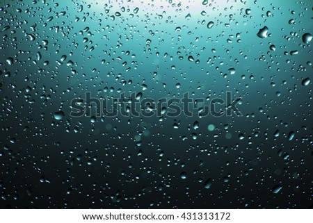 small water drops on a color glass