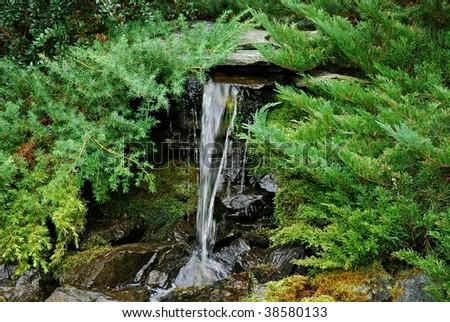 Small waterfall - stock photo