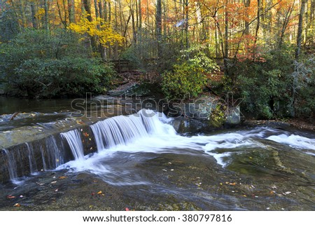 Small Waterfall at Shinny Creek in South Mountains State Park - stock photo