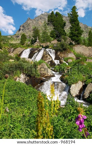 Small waterfall from altay - stock photo