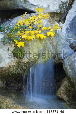 Small waterfall in autumn forest - stock photo