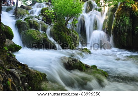 Small waterfall in Plitvice national park, Croatia - stock photo
