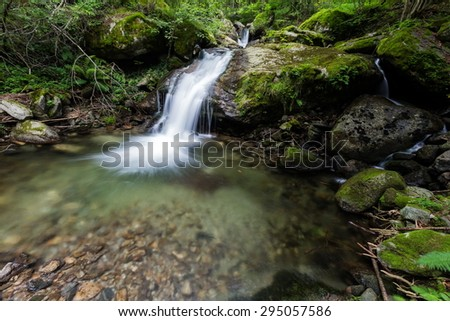 small waterfall in the wooden - stock photo