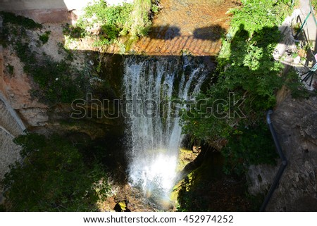 small waterfall of fresh water from the mountains in the south of france
