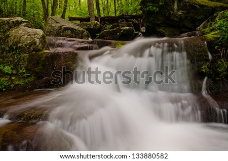 Small waterfall on Hogcamp Branch, Shenandoah National Park, Virginia - stock photo