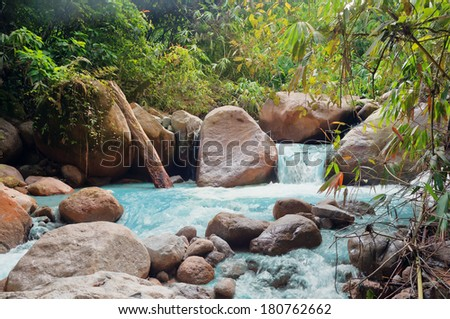 Small waterfalls in jungle. Cameron Highlands. Malaysia - stock photo