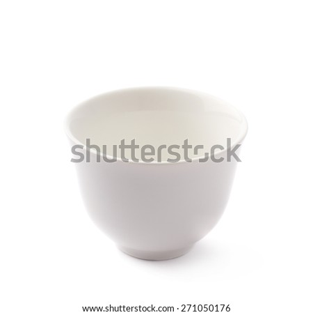 Small white ceramic bowl isolated over the white background - stock photo