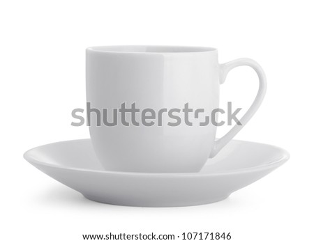 Small white coffee cup isolated on white - stock photo
